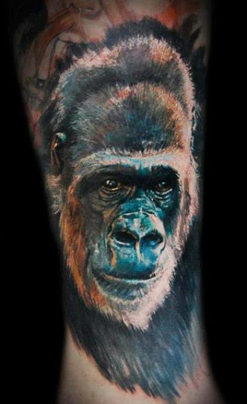 Nice colorful gorilla head tattoo on arm