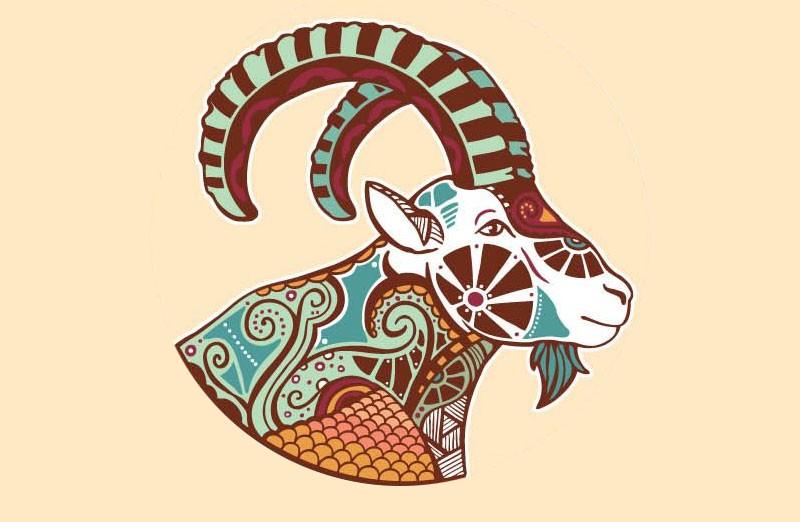 Nice colorful ornamented horoscop animal tattoo design