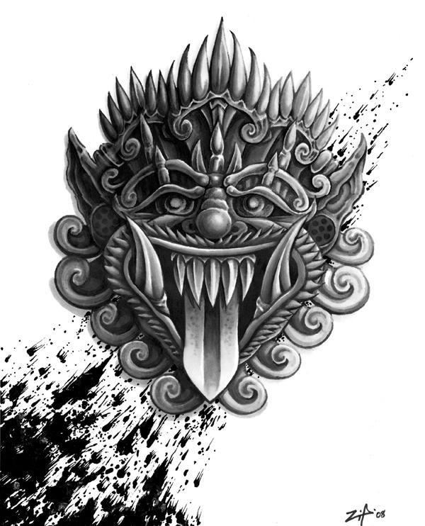 nice dark grey demon mask tattoo design. Black Bedroom Furniture Sets. Home Design Ideas