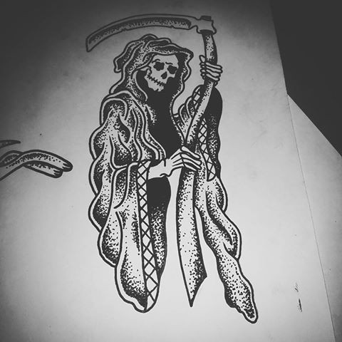 Nice dotwork death with a scythe tattoo design