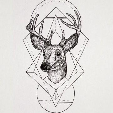 Nice dotwork deer on geometric figures background tattoo design