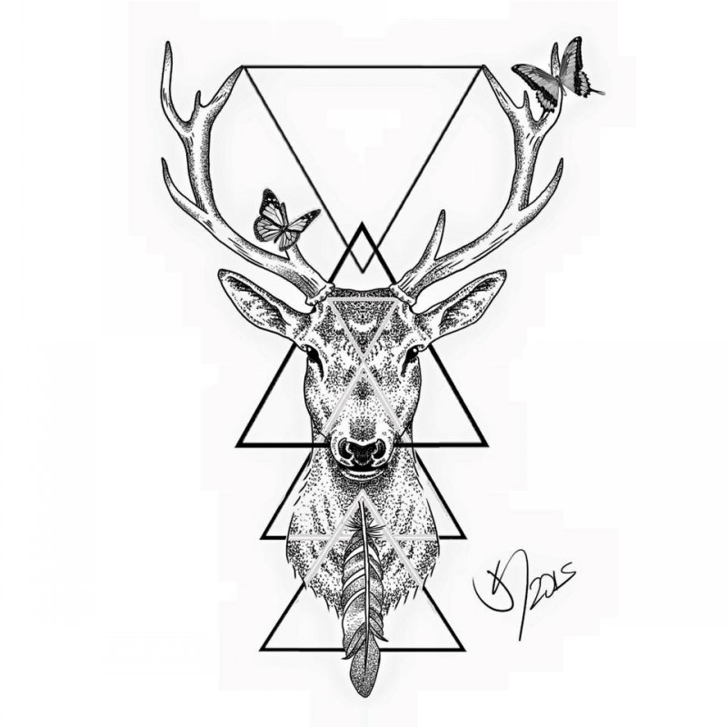 Nice dotwork deer with feather and flying butterflies tattoo design