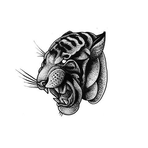 Nice dotwork gnarling tiger head tattoo design