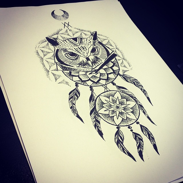 Nice dotwork owl with dream catcher and reversed moon tattoo design