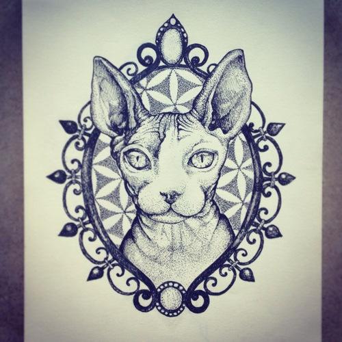 nice dotwork sphynx cat portrait on flower of life