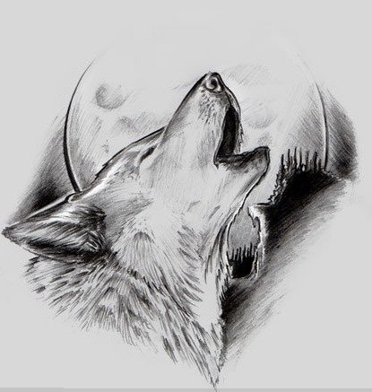 nice drawn wolf howling on moon tattoo design tattooimagesbiz