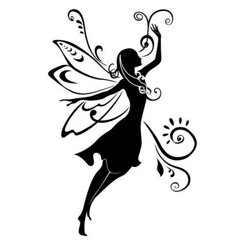 Nice flying fairy and curl decorations tattoo design