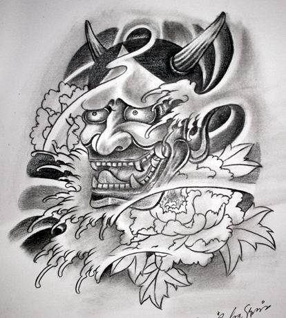 Nice grey-ink devil with a huge peony bud tattoo design
