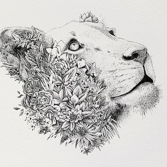Nice half-floral half-dotwork animal head tattoo design