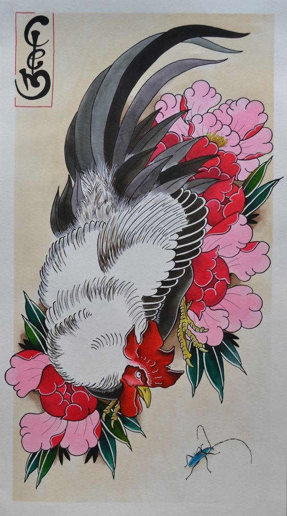 nice japanese style rooster on pink peonies background tattoo design. Black Bedroom Furniture Sets. Home Design Ideas