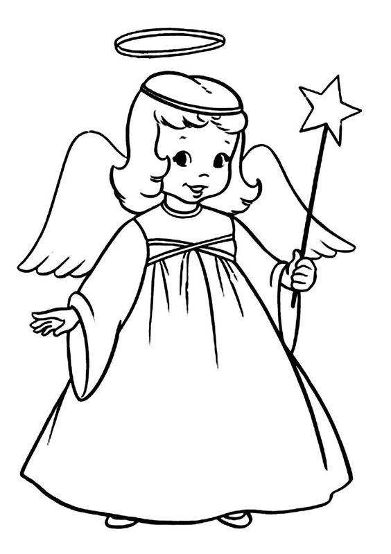 Nice little outine dressed angel girl with a wand tattoo design