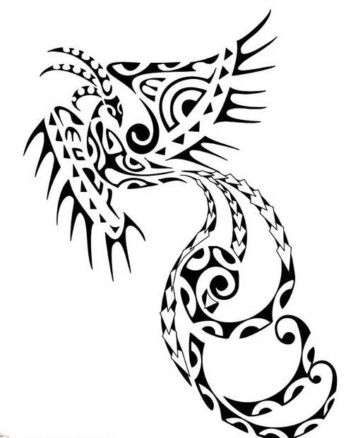 Nice long-tail phoenix in polynesian style tattoo design
