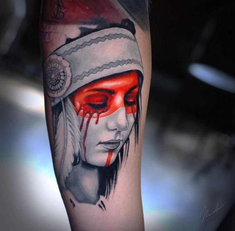 Nice native american girl tattoo on forearm