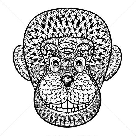 Nice ornamented chimpanzee head tattoo design