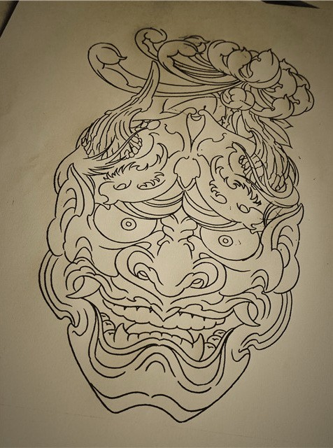 Nice outline chinese devil with lotus flower tattoo design