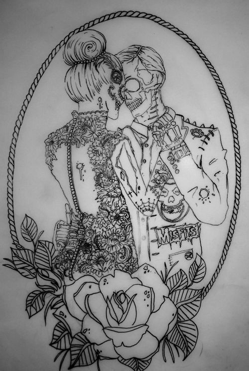 Nice outline dancing zombie couple in floral frame tattoo design