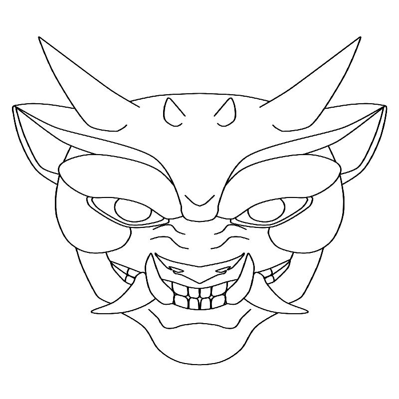 Nice outline devil face tattoo design by Popcorn Kitten