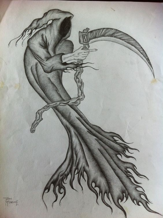 Nice pencilwork death keeping a wooden scythe tattoo design