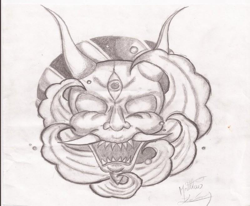 Nice pencilwork devil on cloudy vortex background tattoo design by Baphomet1369