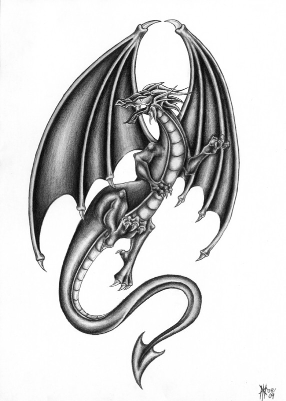 Nice pencilwork flying dragon tattoo design