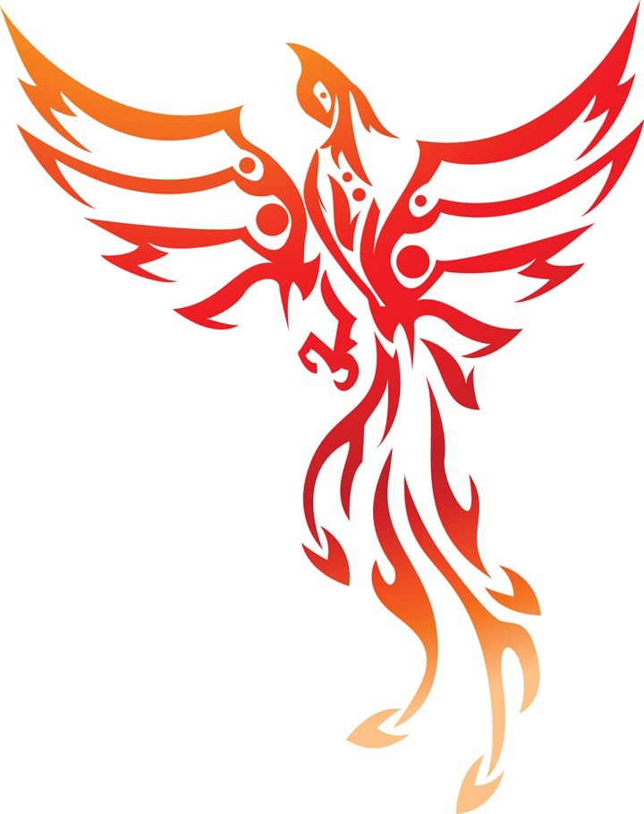 Nice red-and-orange rising phoenix in tribal style tattoo design