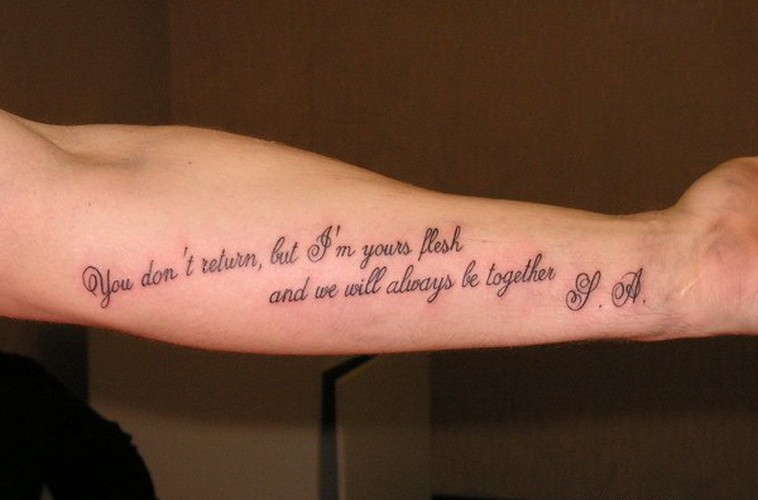 Nice Quotes To Get Tattooed: Nice Romantic Quote Tattoo For Sweethearts On Arm