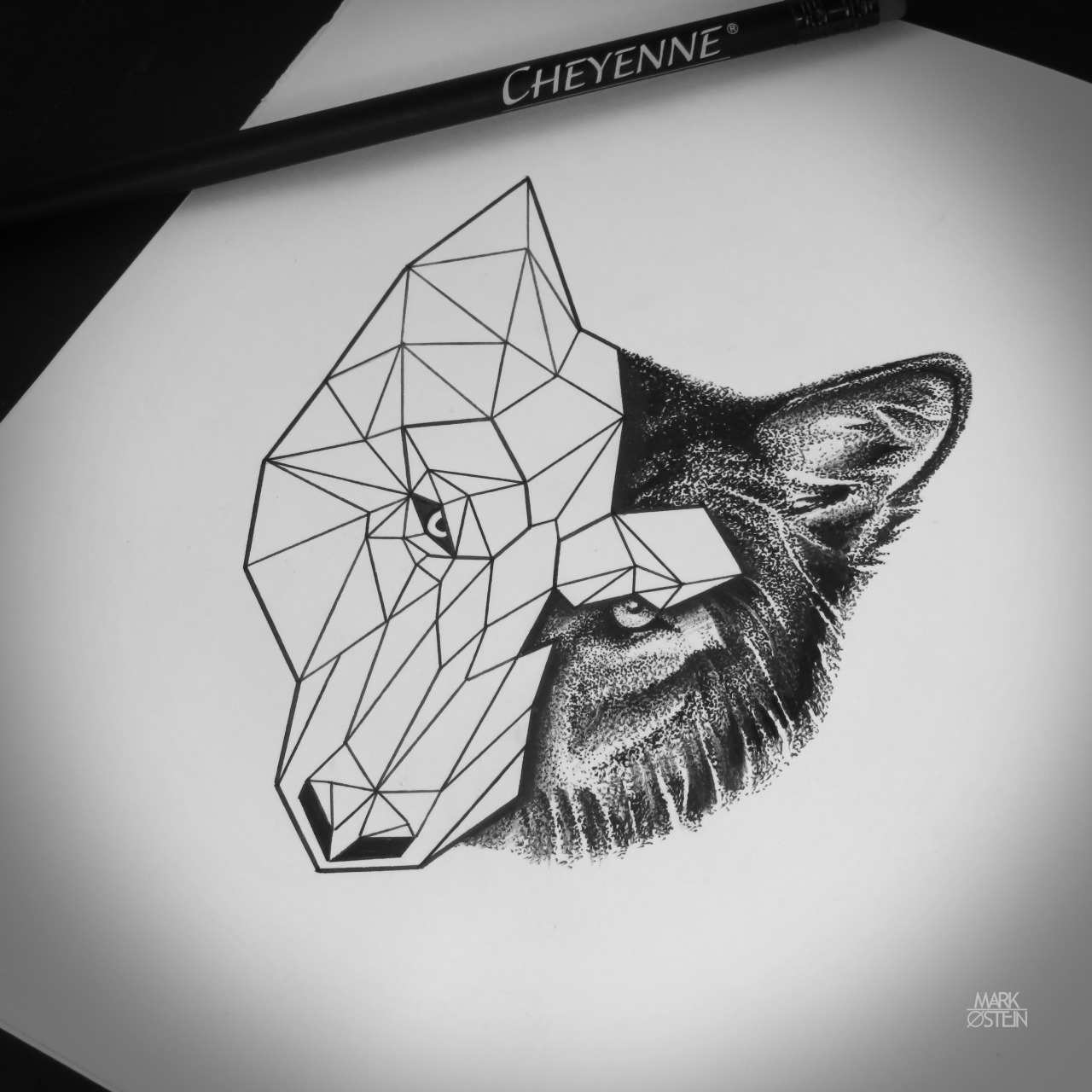 Nice strict half-geometric wolf face tattoo design