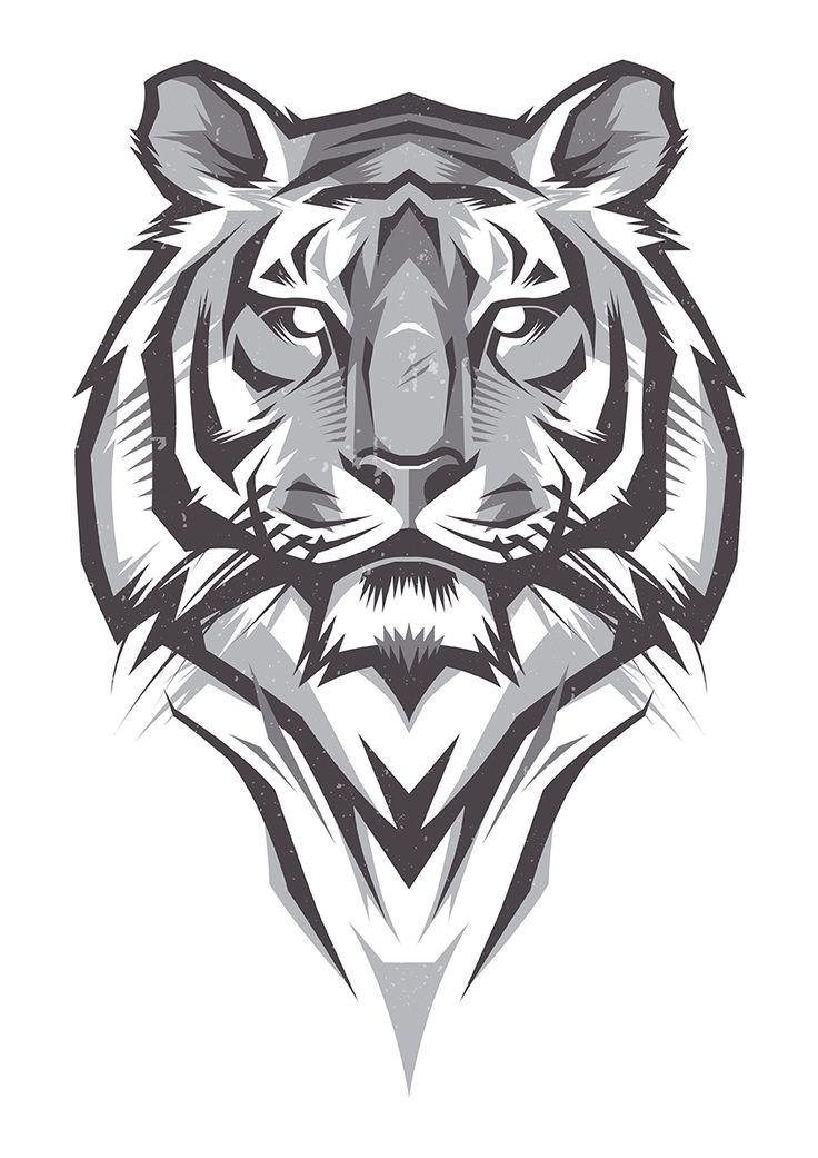 Nice tiger portrait in black-and-grey colors tattoo design