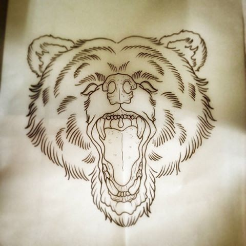 Nice traditional uncolored grizzly head tattoo design