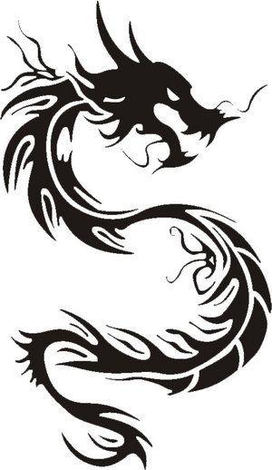 Nice tribal asian dragon figure tattoo design