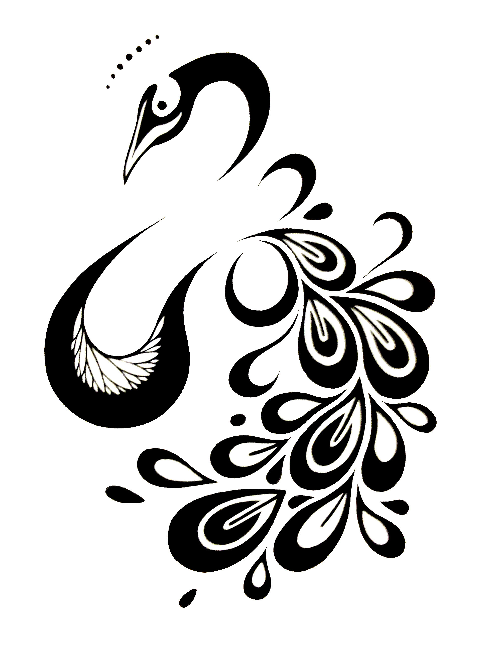 Nice tribal black-line peacock tattoo design