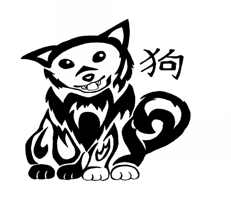 Nice tribal dog and chinece hieroglyph tattoo design by Oukami4