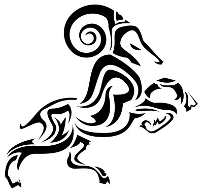 Nice tribal ram tattoo design