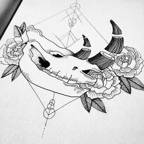 Nice uncolored rhino skull and bonny flowers tattoo design