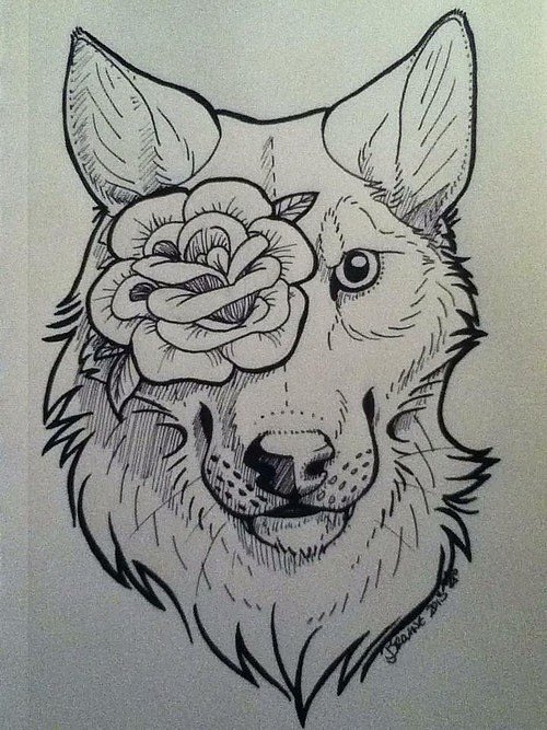 Nice Uncolored Wolf Muzzle With Rose Eye Tattoo Design