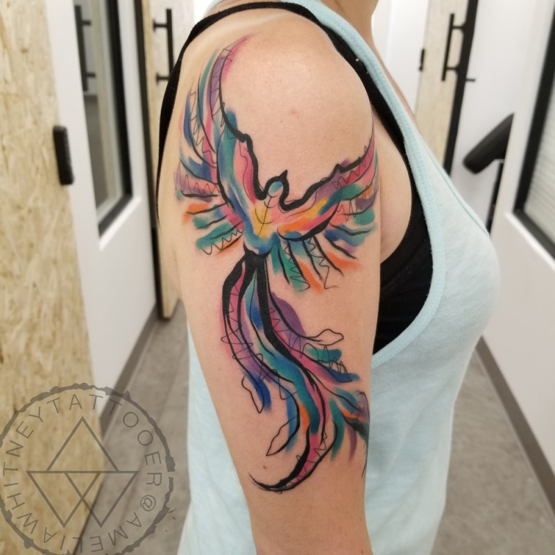 Nice watercolor fenix tattoo on shoulder
