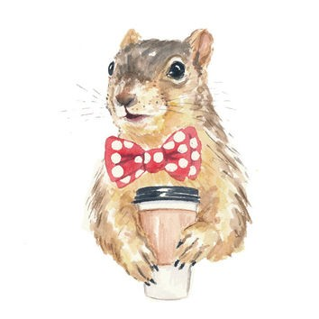Nice watercolor squirrel in red spotted tie-bow with coffee tattoo design