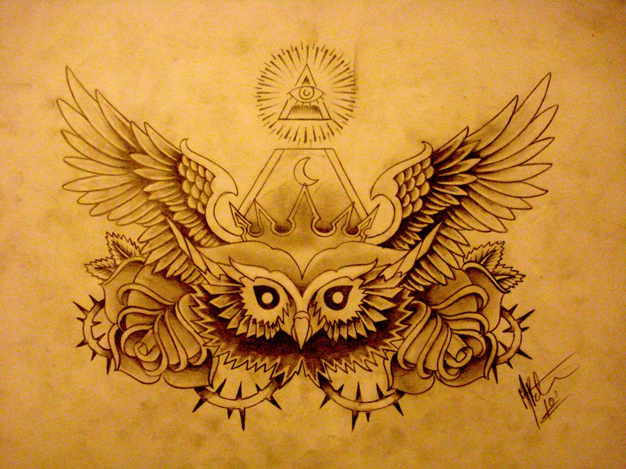 Nice winged owl head with flowers and illuminati tattoo design