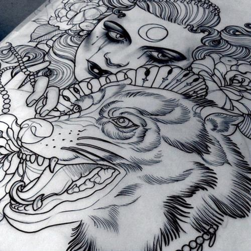 Nice wolf and young gypsy girl tattoo design
