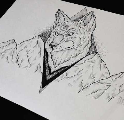 Nice wolf head and mountains tattoo design