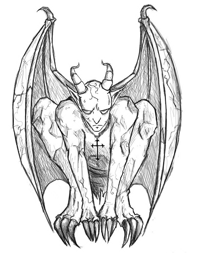 Obedient calm pencilwork gargoyle with a cross on chest tattoo design