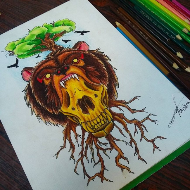 Odd colorful bear head with a skull in mouth pierced with tree roots tattoo design