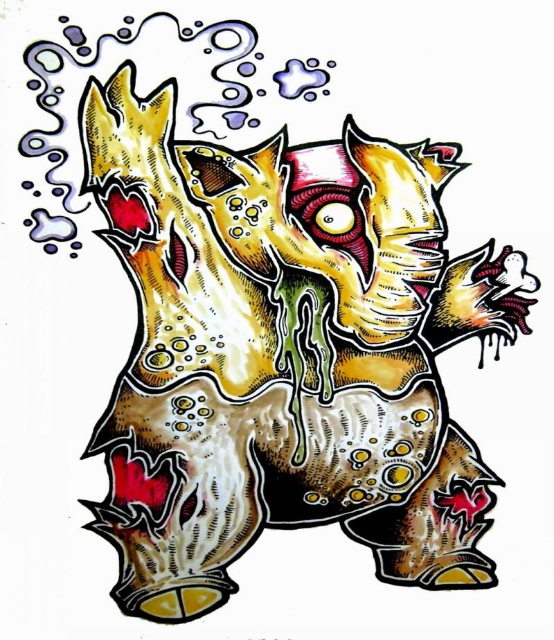 Odd small yellow zombie pokemon tattoo design