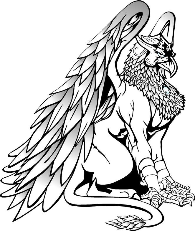 Offended black-ink sitting griffin with a medallion on the neck tattoo design