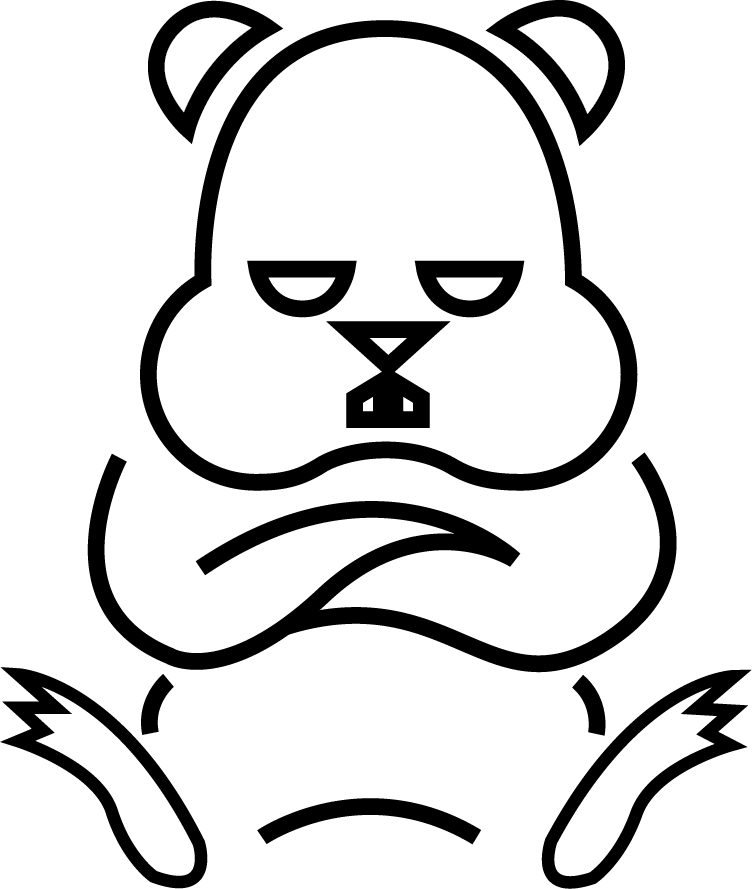 Offended cartoon outline rodent tattoo design