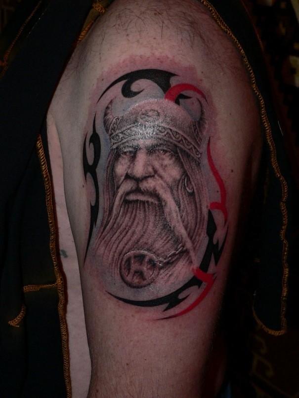 Old Viking warrior leader tattoo on shoulder