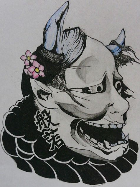 Old black-and-white devil portrait with butterfly and cherry blossom decoration tattoo design