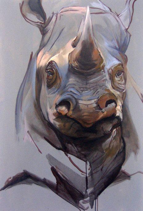 Old colored rhino portrait tattoo design