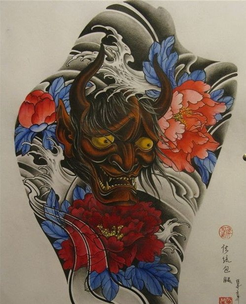 Old dark brown skin devil and bright red peony flowers tattoo design