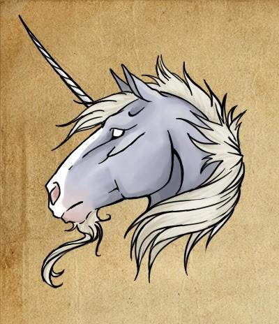 Old empty-eyed grey-skin unicorn head tattoo design